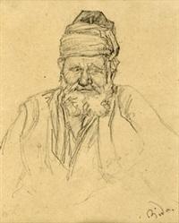 brustbild eines bärtigen orientalen (+ ganzfigur eines orientalen mit pfeife, lrgr; 2 works) by alexandre bida