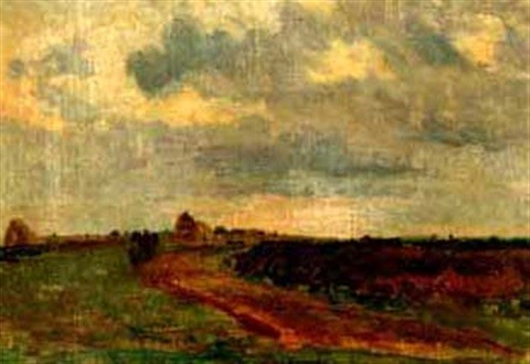 study of landscape with haystacks by walter griffin