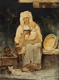 italienerinde med et barn på skoddet by ernst meyer