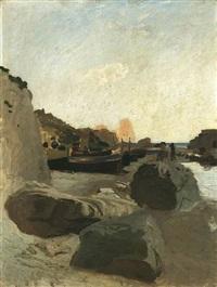 aufliegende fischerboote am strand einer südlichen steilküste by ernst carl friedrich te peerdt
