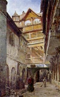 gasse einer mittelalterlichen stadt, von einem sonnenstrahl beleuchtet by victor valentini