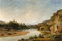 an italian river landscape by ludwig heinrich theodor (louis) gurlitt