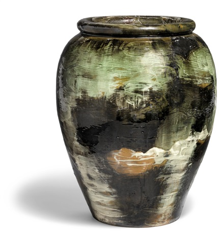 Large Earthenware Floor Vase Decorated With Black White Green And
