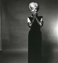 marilyn in black dress and glitter gloves. the last sitting by bert stern