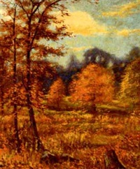 autumn leaves falling by hugo melville fisher