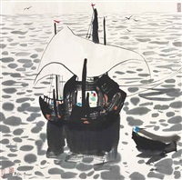 fishing boats by the sea by wu guanzhong