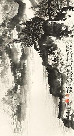 松瀑图 by li xiongcai