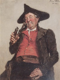 lachender mann in tracht mit dreispitz und ulmer kloben by heinrich a. weber