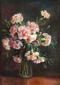 lyserode nelliker i en vase by flora heilmann