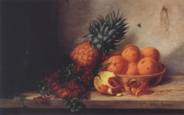 opstilling med gyldenlakker ananas skål med appelsiner samt chiantiflaske på et bord by alfrida baadsgaard