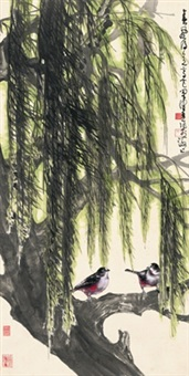 春风得意图 (bird in willow tree) by chen peiqiu