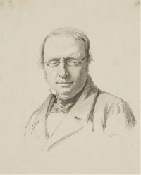 portrait of a man with glasses by franz krüger