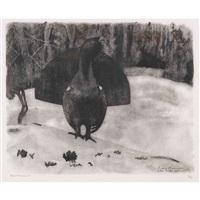 grand coq à l'aube, sous la pluie by robert hainard