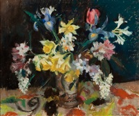 still life with daffodils, iris, rhododendron, tulips and lilac jug by lena alexander