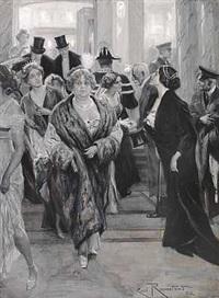 interior med festklædte herrer og damer by christian emil rosenstand