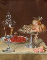 opstilling med vinpokal, kirsebær på et fad og opsats med ribs og æbler by johanne marie (mme. westengaard) fosie