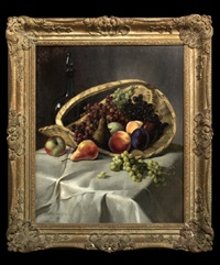 still life of fruit in a basket by maxmilian aurel reinitz rasko