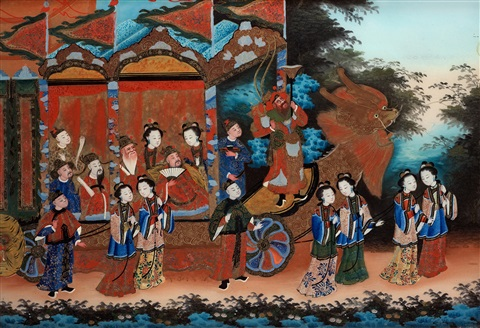 painted with a gathering of court ladies and dignitaries attending a dragon boat festival by anonymous chinese qing dynasty