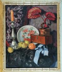 stillleben mit zitrusfrüchten und kerze by paul bürck