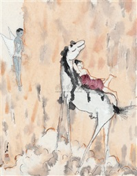 beauty sleeping on back of horse by lei ziren
