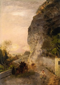 landscape with mount vesuvius by oswald achenbach