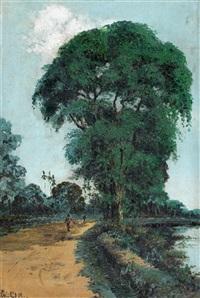 wandelaars op pad langs rivier by gerard adolfs