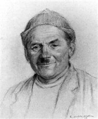 porträt eines lächelnden mannes mit mütze en face by emil aufdenblatten