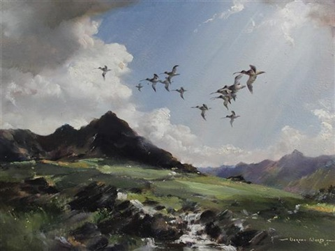 curlew over glen lannox by vernon ward