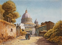 roman street with view of the cupola of saint peter's basilica by ettore roesler franz