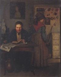erinnerung. interieur mit lesendem mann und einer frau by heinrich august mansfeld