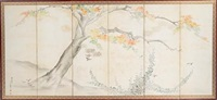 maple and bush clover (6 panel screen) by baiyu tosho