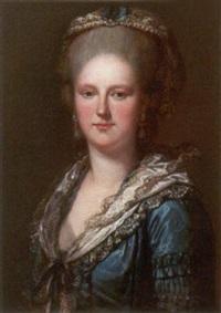 brustbild einer jungen dame in elegantem, mit spitzen besetztem taftkleid by joaquin x. inza