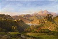 italian landscape with lake nemi by ludwig heinrich theodor (louis) gurlitt