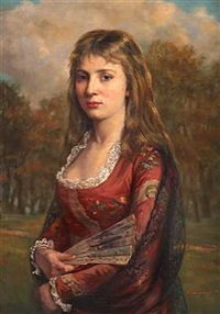 portrait of a young woman in russian dress by ernst friederich von liphart