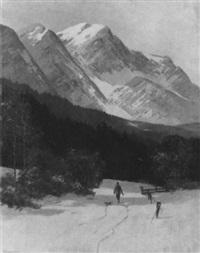 winterliche gebirgslandschaft mit einem jäger by eugen reichenbach