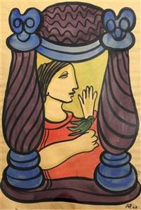 woman and bird by amelia peláez