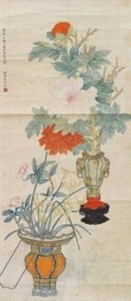 设色花卉 by ma shouzhen