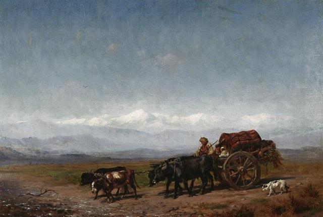 bauer mit seinem ochsenkarren in weiter kaukasischer landschaft by konstantin nikolaevich filippov