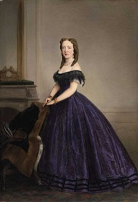 a portrait of a lady in a purple dress by ernst lafite