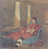 portrait of sir baldwin leighton in egyptian costume reclining in an interior by mary leighton