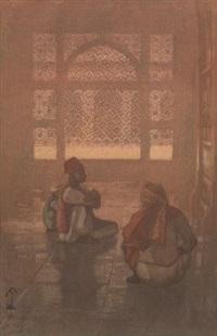 a window in fatehpur-sikri by hiroshi yoshida