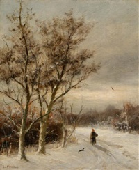 landscape in winter by gerard van der laan