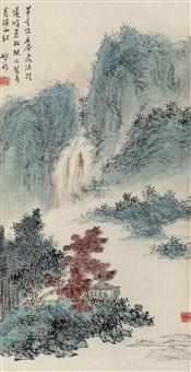 秋山飞瀑 (landscape) by ning dizhong