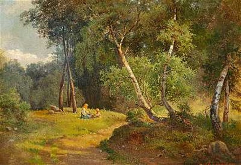two girls in a glade by sergei nikolaevich ammosov