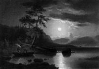 helle mondnacht über einem bergsee by theophil (gottlieb) gassen