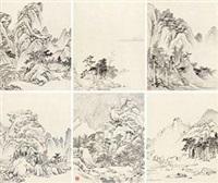 春江小景 (album of 6) by hong ren