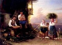 musizierender bauer und heimkehrende frauen neben einem stall auf der höhe eines kirchdorfes by heinrich august mansfeld