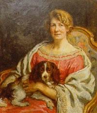portræt af siddende kvinde med hund på skodet by august torsleff