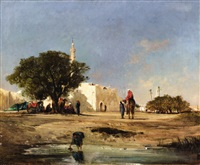 north african landscape by victor pierre huguet