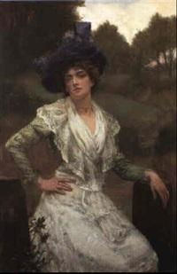 ein junge dame sitzt kokett auf einer gartenmauer by reginald arthur